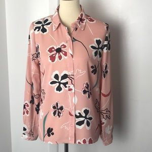 Forever 21 Pink Floral Blouse Small